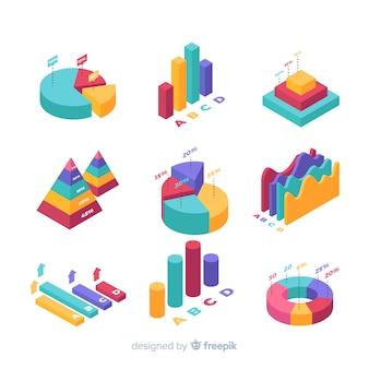 Colección de elementos para infografías isométricos
