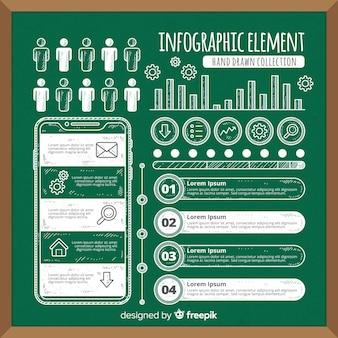 Colección de elementos para infografias en pizarra