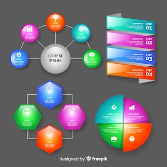 Colección de elementos de infografías realista con brillo