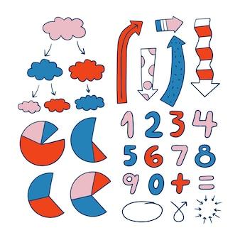 Colección de elementos infográficos para clases escolares.