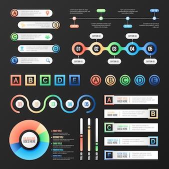 Colección de elementos infográficos degradados