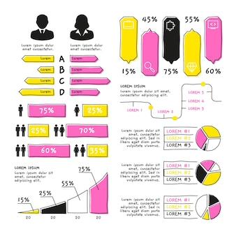 Colección de elementos infográficos dibujados a mano
