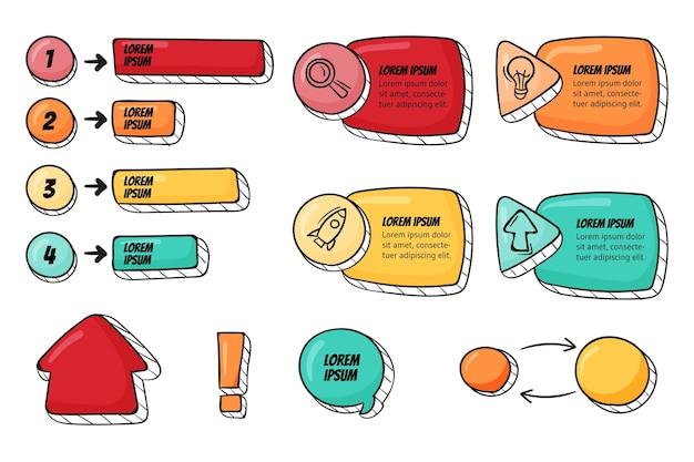 Colección elementos infográficos dibujados a mano