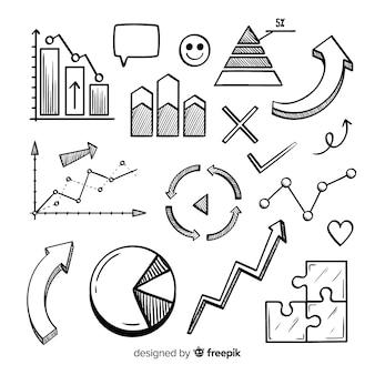 Colección de elementos infográficos dibujados