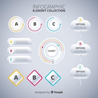 Colección de elementos infográficos de diseño plano.