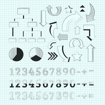 Colección de elementos infográficos escolares dibujados a mano