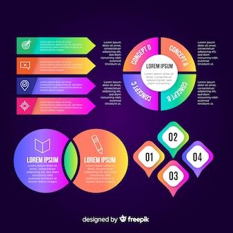 Colección de elementos infográficos en estilo plano.