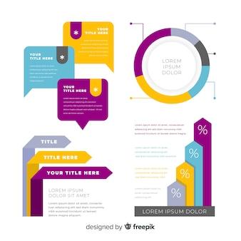 Colección de elementos infográficos flat