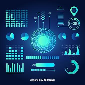 Colección de elementos infográficos futuristas.