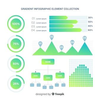 Colección de elementos infográficos gradientes