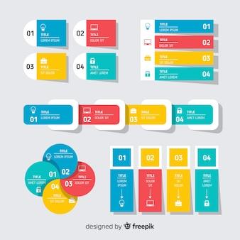 Colección de elementos infográficos planos.