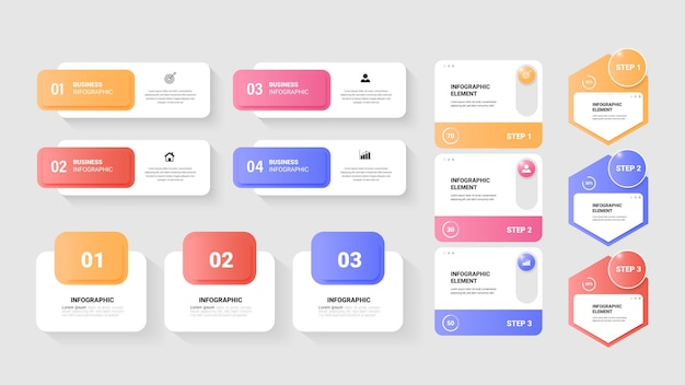 Colección de elementos infográficos para presentación.