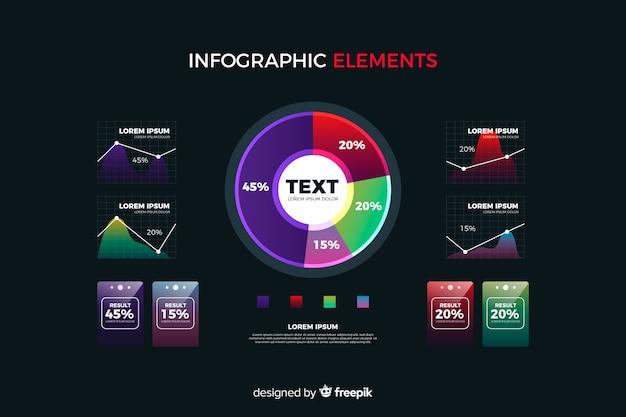 Colección de elementos de infographic con degradado