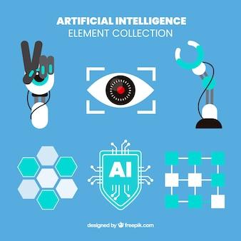 Colección de elementos de inteligencia artificial en diseño plano
