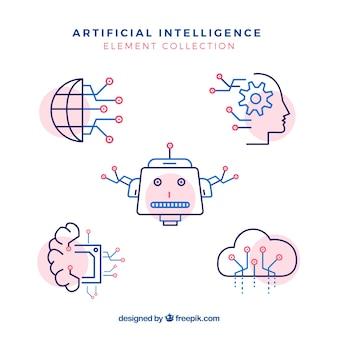 Colección de elementos de inteligencia artificial en estilo plano