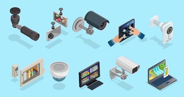 Colección de elementos isométricos de cctv con cámaras de seguridad, dispositivos electrónicos para diferentes tipos de monitoreo y vigilancia aislados.