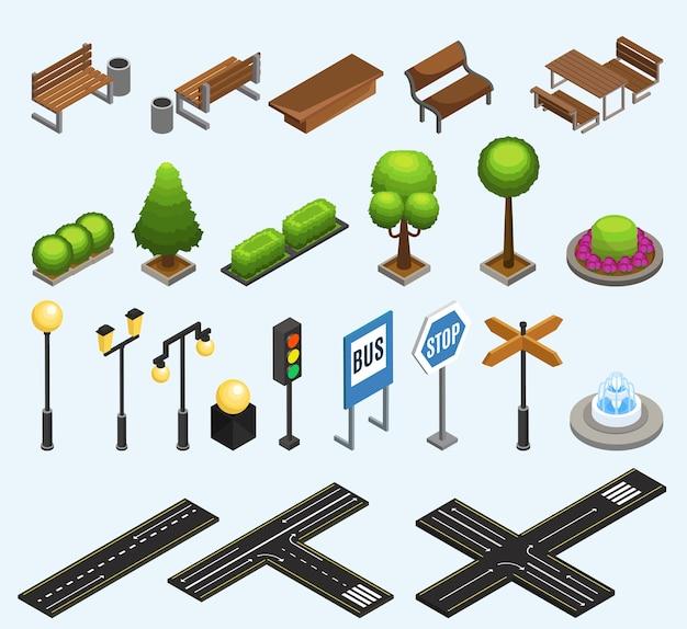 Colección de elementos isométricos de la ciudad con bancos, contenedores de basura, plantas, postes, linternas, semáforo, fuente, señales de tráfico, aisladas