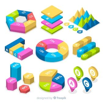 Colección elementos isométricos coloridos infografía
