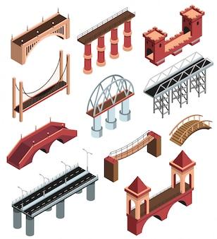 La colección de elementos isométricos de detalles de puentes con construcciones metálicas modernas viaductos de piedra de madera antigua abarca ilustración de vector aislado
