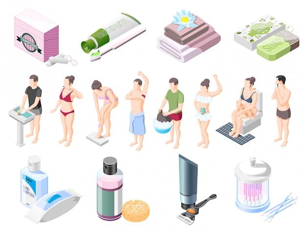 Colección de elementos isométricos de higiene personal.