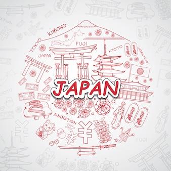 Colección de elementos de japón