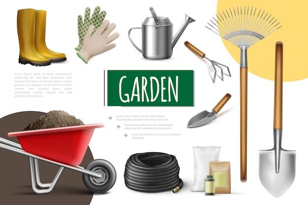 Colección de elementos de jardín realista con botas, guantes, regadera, manguera, carretilla, bolsas de fertilizante, pala, paleta, rastrillo, azada, aislado, ilustración