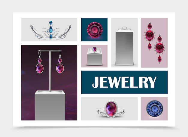 Colección de elementos de joyería realista con aretes, anillos en soportes, joyas, gemas y diadema, ilustración aislada