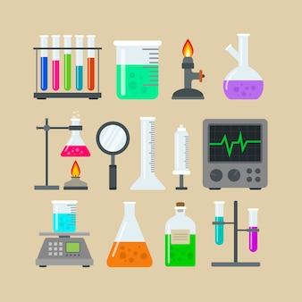 Colección de elementos del laboratorio de ciencias