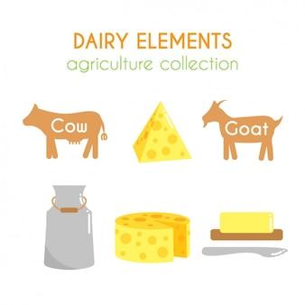 Colección de elementos lácteos