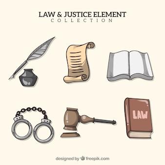 Colección de elementos de ley y justicia dibujados a mano