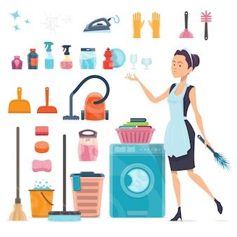Colección de elementos de limpieza