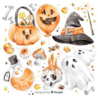 Colección de elementos lindos de halloween acuarela