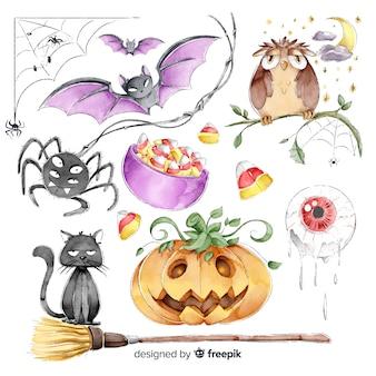 Colección de elementos lindos de halloween en estilo acuarela