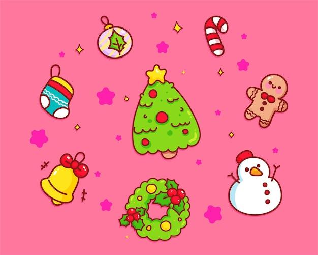 Colección de elementos lindos de navidad ilustración de arte de dibujos animados dibujados a mano