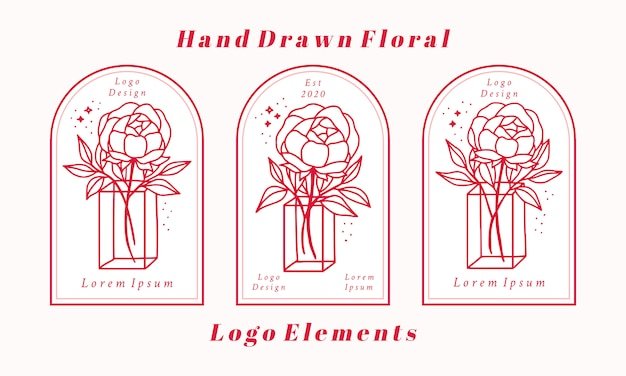 Colección de elementos de logotipo femenino dibujado a mano con flor y hoja de peonía rosa