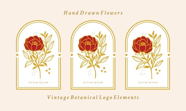 Colección de elementos de logotipo de flor de peonía botánica de oro vintage dibujado a mano