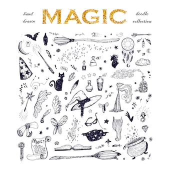 Colección de elementos de magia