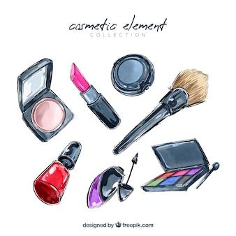 Colección de elementos maquillaje en estilo acuarela