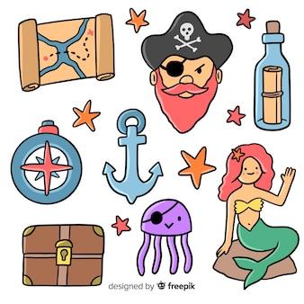 Colección elementos marinos dibujados a mano