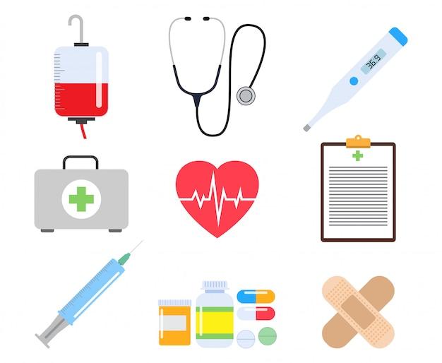 Colección de elementos médicos de salud y medicina.