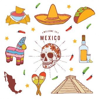 Colección de elementos mejicanos