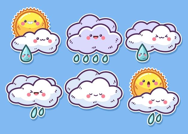 Colección elementos meteorológicos dibujados a mano