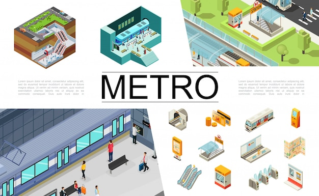 Colección de elementos de metro isométrica con boletos de tren tarjeta de viaje cajero automático mapa de navegación entrada subterránea escalera mecánica torniquetes pasajeros cabina de seguridad estación de metro