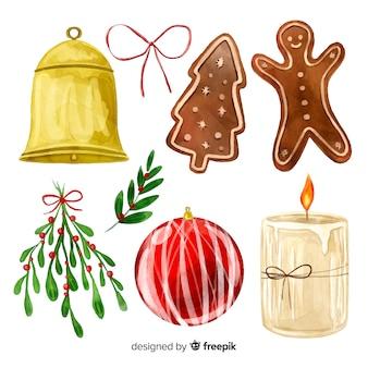 Colección de elementos de navidad de acuarela