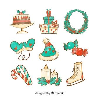 Colección de elementos de navidad en acuarela