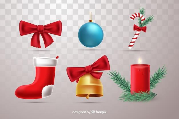 Colección de elementos de navidad hermosa realista