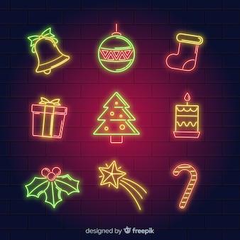 Colección de elementos de navidad de luces de neón
