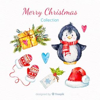 Colección de elementos navideños en acuarela