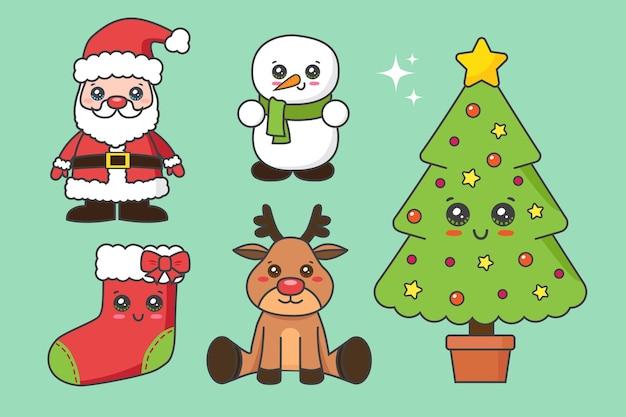 Colección de elementos navideños aislado en verde