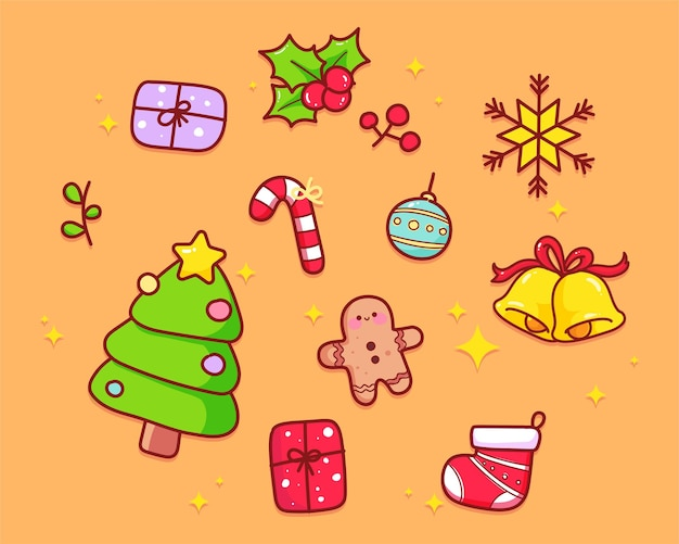 Colección de elementos navideños dibujados a mano ilustración de arte de dibujos animados